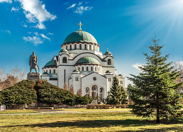 Cathedral in Belgrade, Serbia on a beautiful sunny day Belgrade (Beograd), Saint Sava Cathedral (Hram Svetog Save) and Monument of Karageorge Petrovitch (Karadjordje Petrovic) serbia stock pictures, royalty-free photos & images