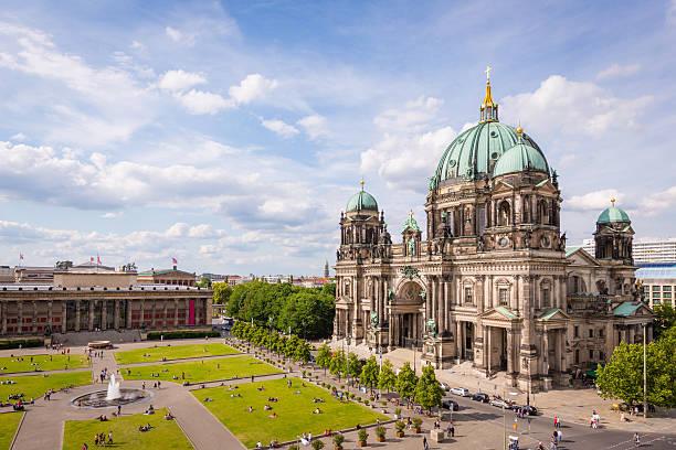 cathedral in berlin germany aerial view - kubbe stok fotoğraflar ve resimler