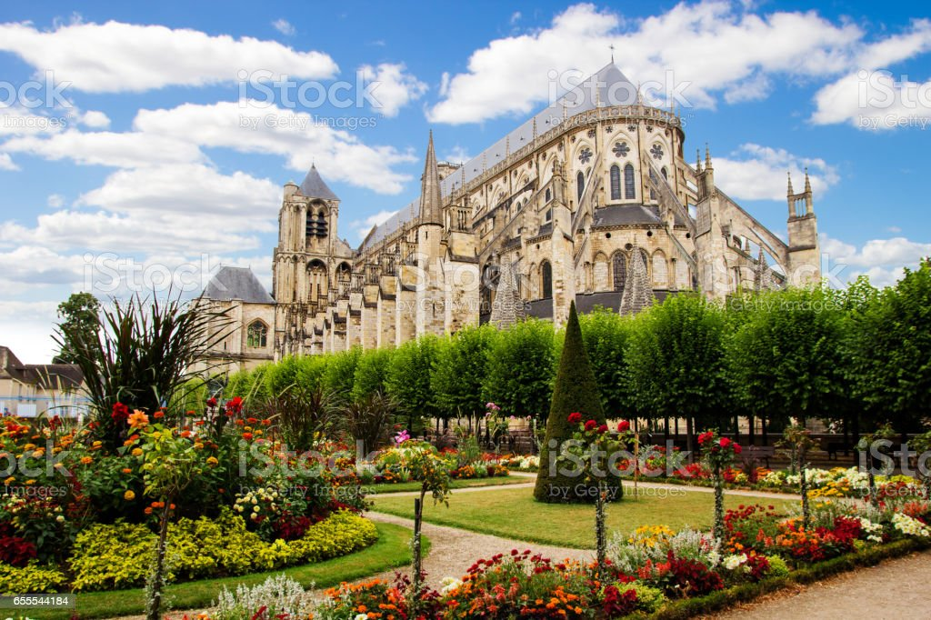 Cathedral in Bourges, beautiful garden, France stock photo