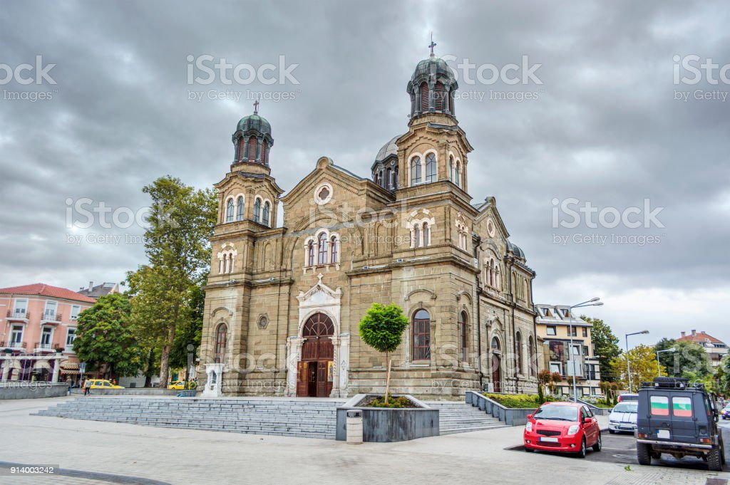 Cathedral in Burgas stock photo