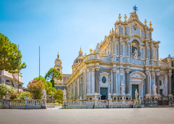 Cathedral in Catania, Sicily Piazza del Duomo with Cathedral of Santa Agatha in Catania, Sicily, Italy. catania stock pictures, royalty-free photos & images
