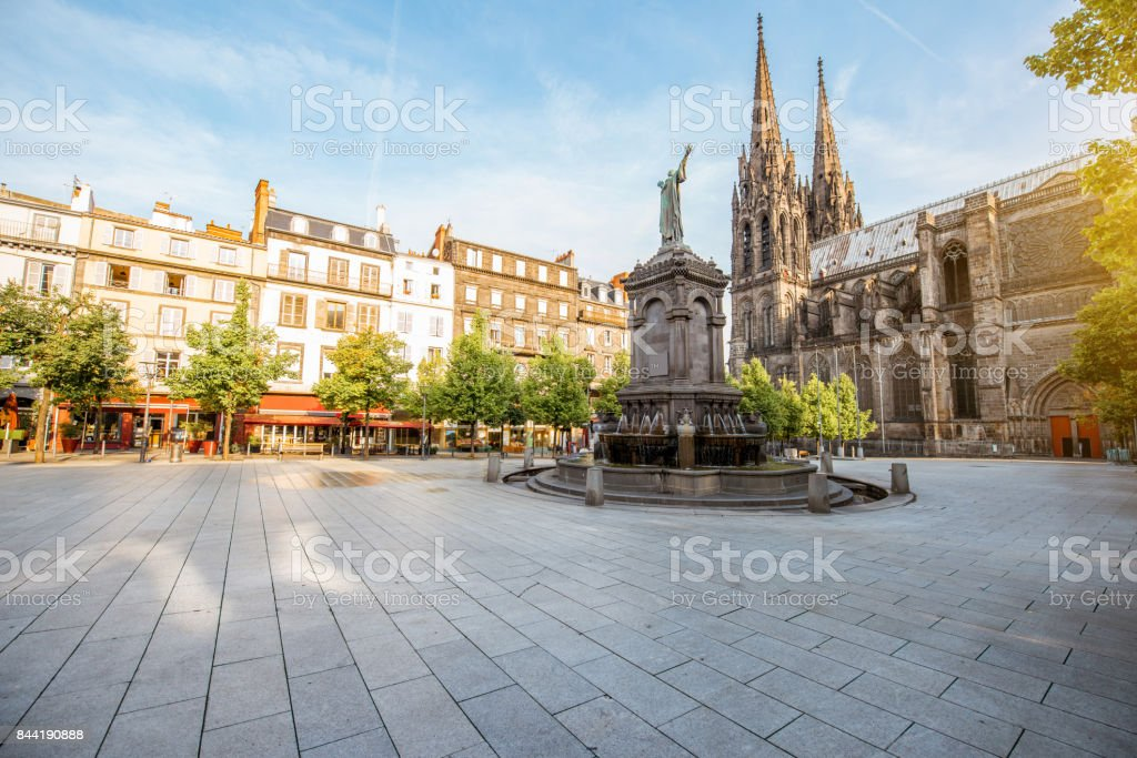 Cathedral in Clermont-Ferrand city stock photo