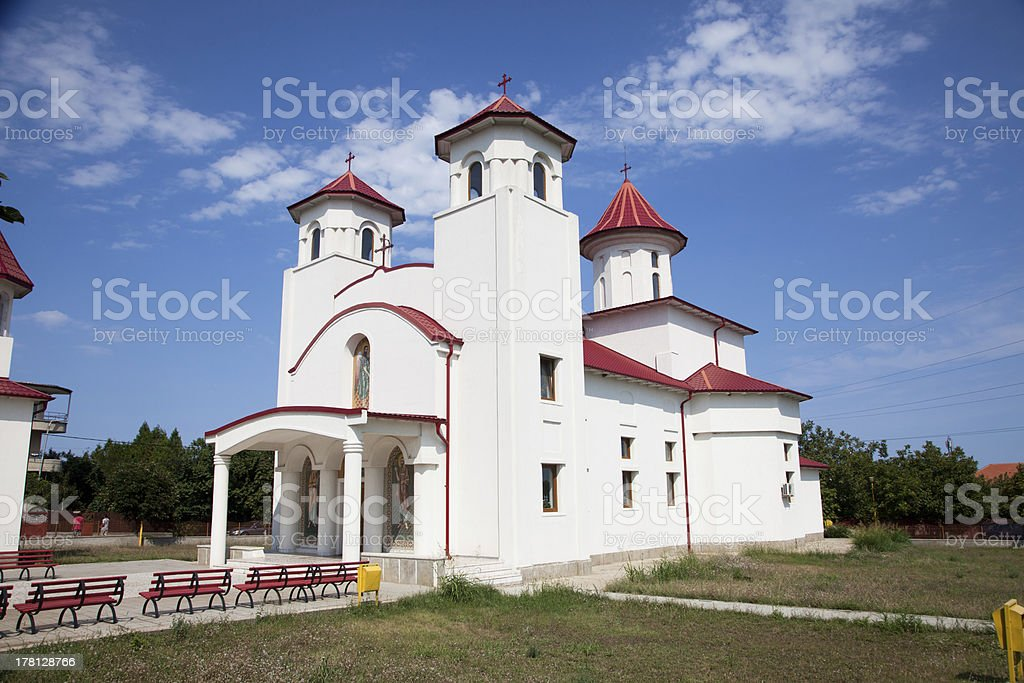Cathedral in Costinesti  vilage ,Romania. stock photo
