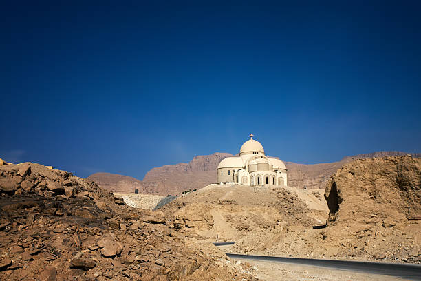 cathedral in desert new Coptic Christian cathedral in Egyptian desert, St. Paul monastery monastery stock pictures, royalty-free photos & images
