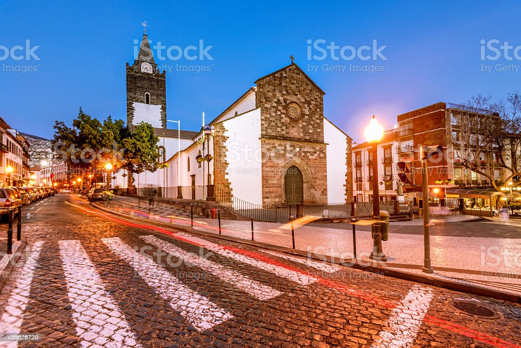 Sé Cathedral in downtown Funchal, Madeira stock photo