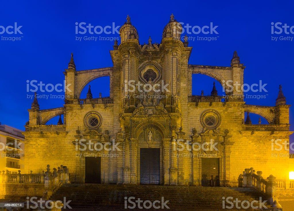 Cathedral in  evening time. Jerez de la Frontera stock photo