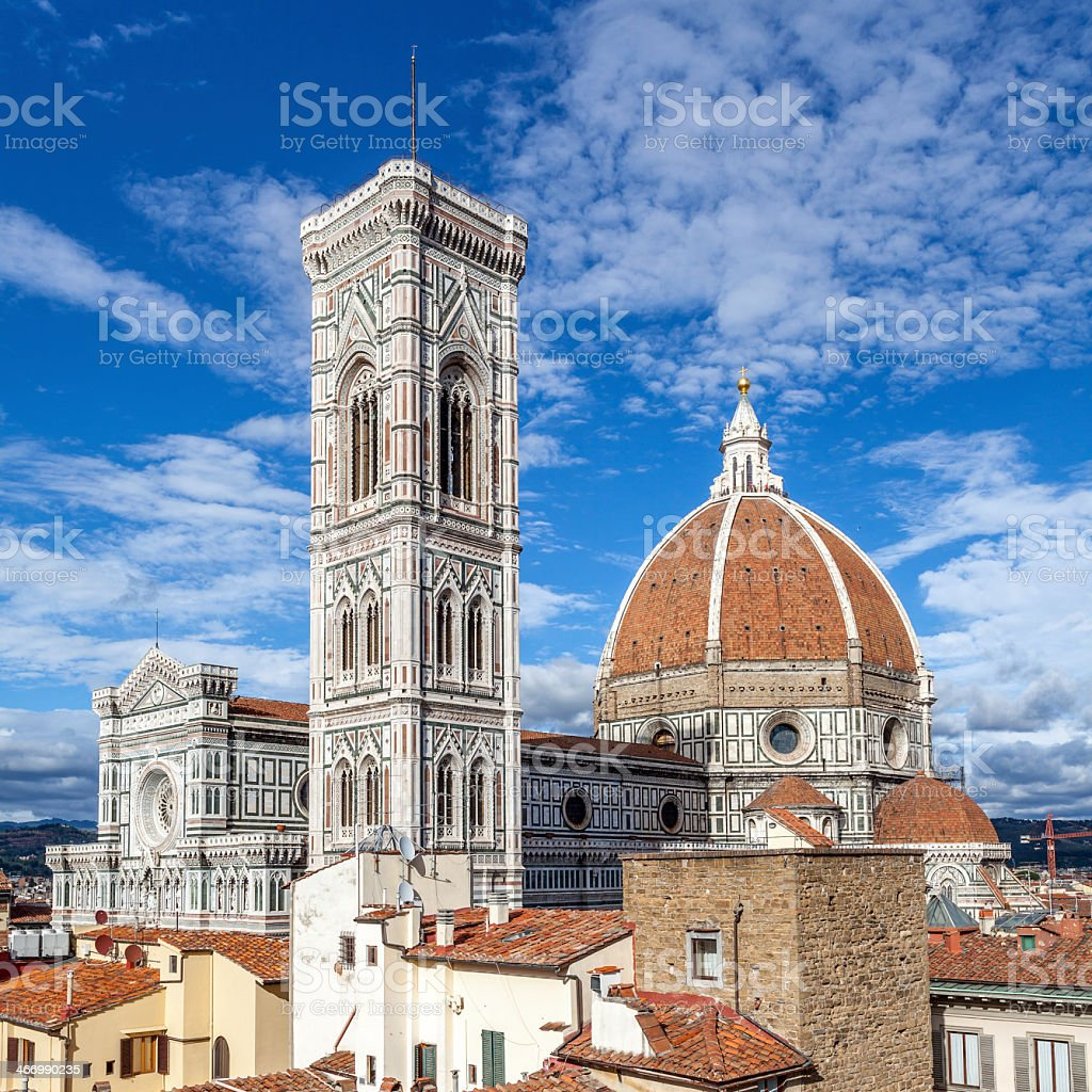 Cathedral in Florence from another high elevation stock photo