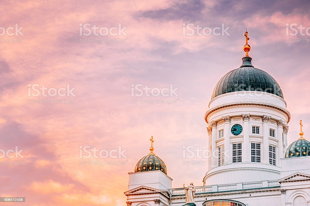 Cathedral In Helsinki, Finland. Summer Sunset Evening stock photo