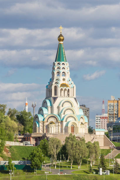 Cтоковое фото Cathedral in honor of Hagia Sophia on the Volga embankment in Samara, Russia