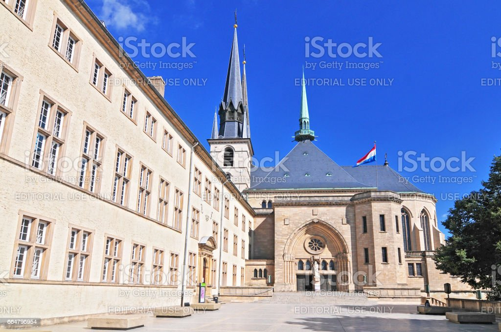 Cathedral in Luxembourg city Grand Duchy of Luxembourg. stock photo