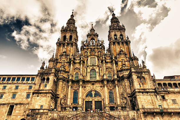 cathedral in Santiago Compostela, Spain stock photo