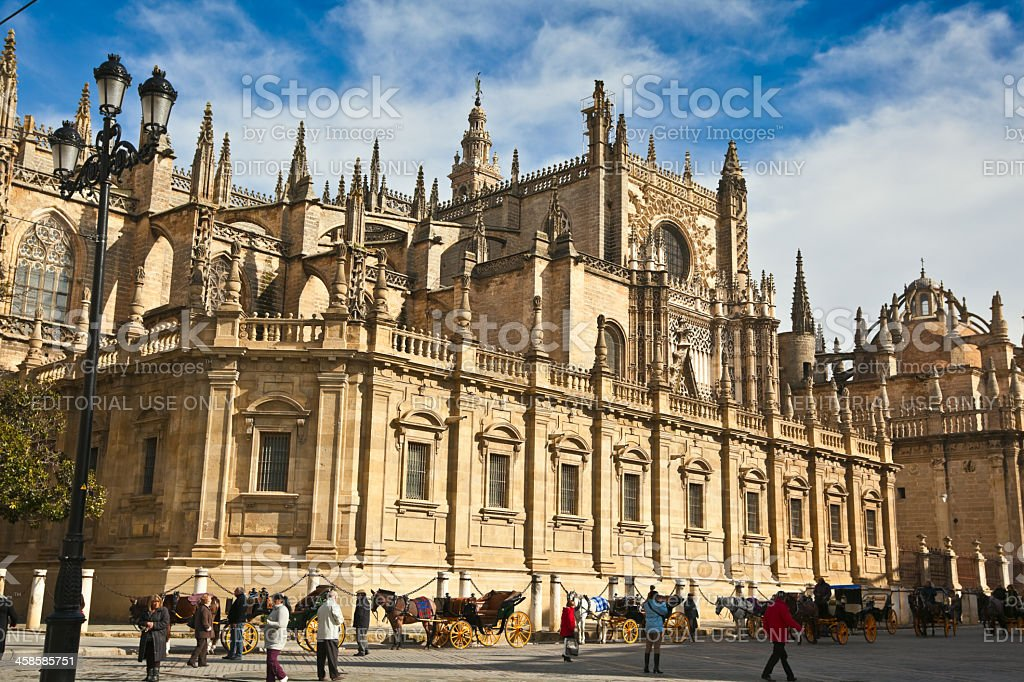 Cathedral in Sevilla stock photo