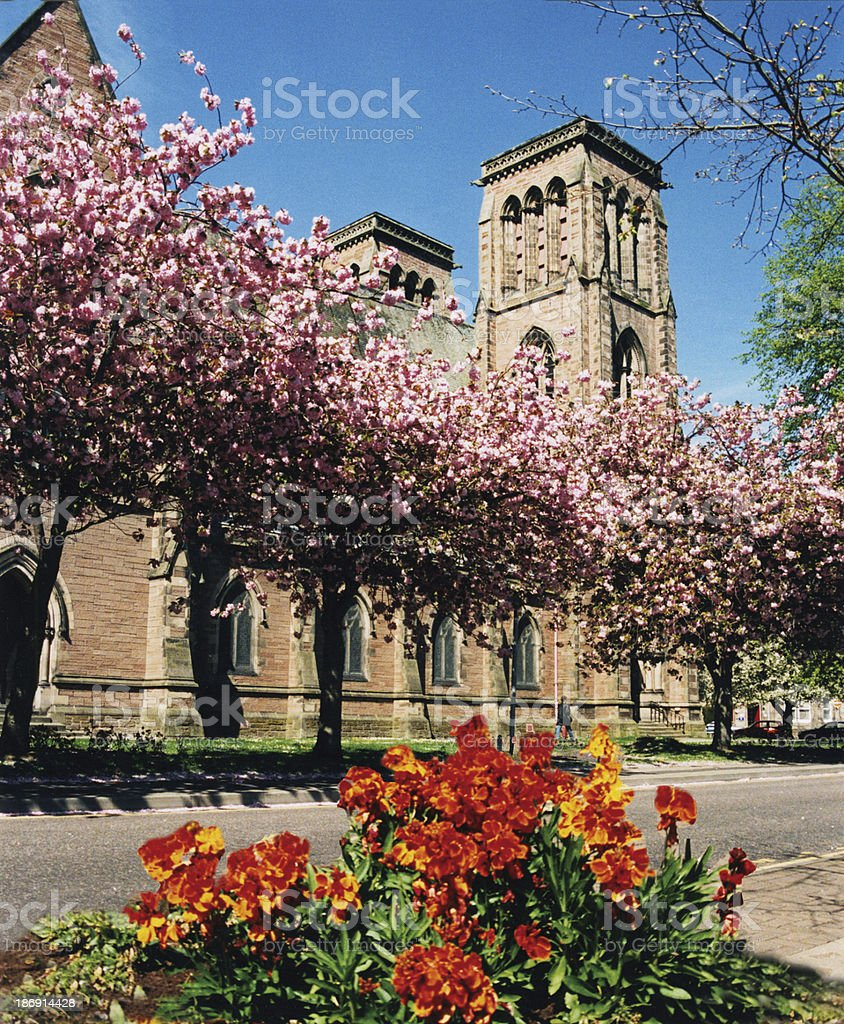 Cathedral in Springtime  Inverness Scotland stock photo