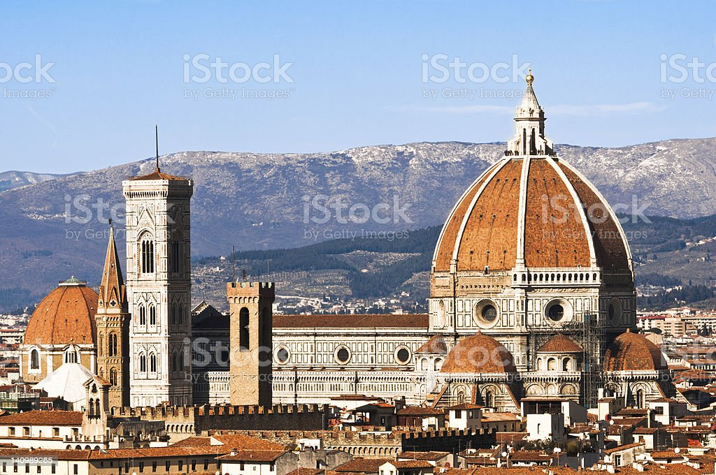 Cathedral in the city of Florence over the mountains stock photo