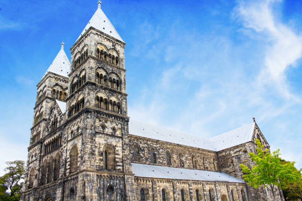 cathedral in the town of lund, scania, sweden - lund stock photos and pictures