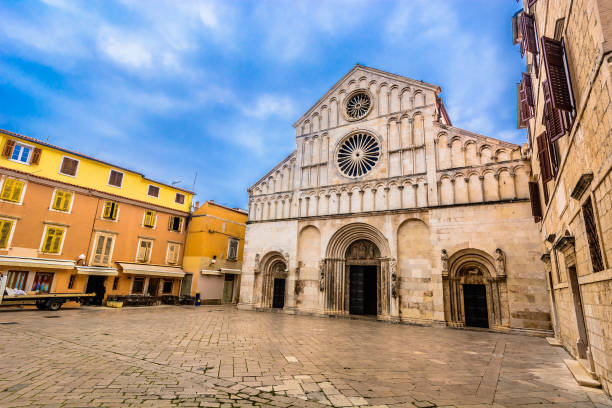 Cathedral in town Zadar, Croatia. Picturesque outdoors view at public cathedral in town Zadar, religious catholic and touristic center in Dalmatia region, Croatia Europe. croatian culture stock pictures, royalty-free photos & images