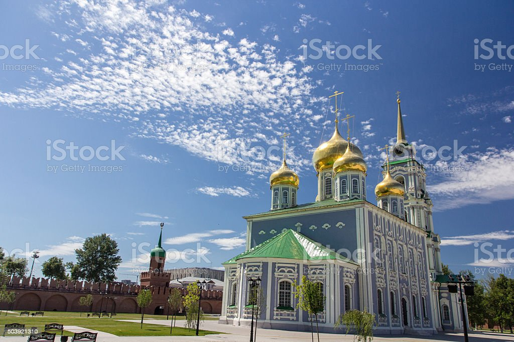 Cathedral in Tula, Russia stock photo
