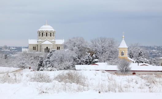 Cathedral in winter, St. Vladimir's Cathedral, Chersonese, Sevastopol, Ukraine.