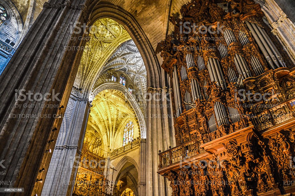 Cathedral Interior - Seville, Spain stock photo
