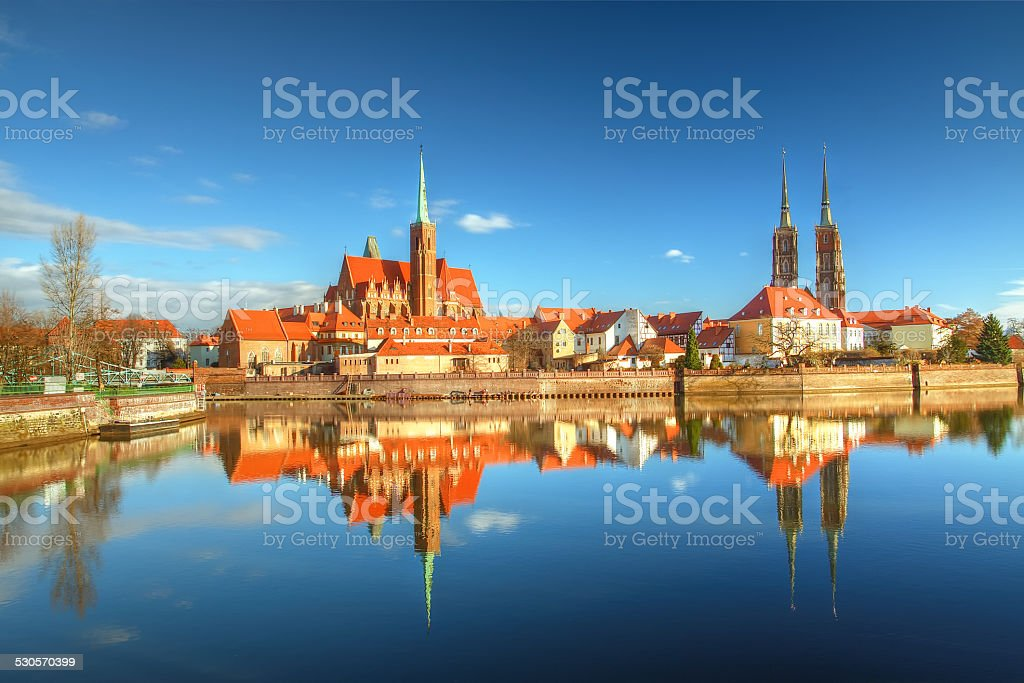 Cathedral Island in Wroclaw, Poland stock photo