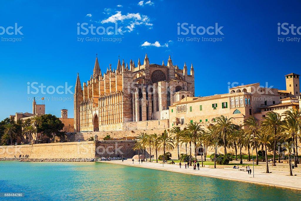Cathedral La Seu and Parc del Mar stock photo