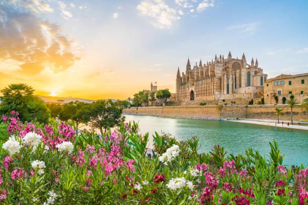 Cathedral La Seu at sunet time, Palma de Mallorca islands, Spain