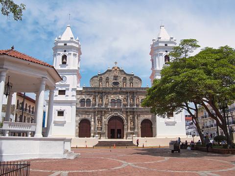 Cathedral Metropolitan Basilica Santa Maria La Antigua in de wijk Casco Viejo in Panama-stad