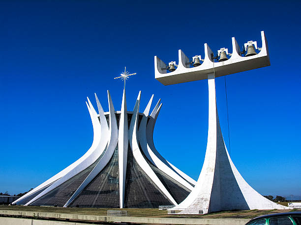 Cathedral Metropolitana Nossa Senhora Aparecida Brasilia Brazil Brasilia, Brazil - June 19, 2005: The Cathedral of Brasilia in Brasilia, Brazil.It was designed by Oscar Niemeyer, and was completed and dedicated on May 31, 1970. goiás city stock pictures, royalty-free photos & images