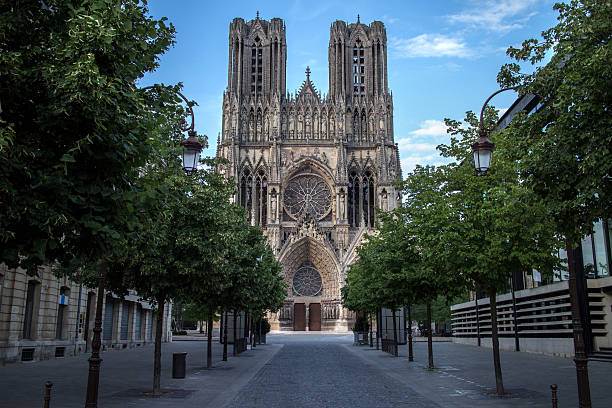 Cathedral Notre Dame in Reims, France stock photo