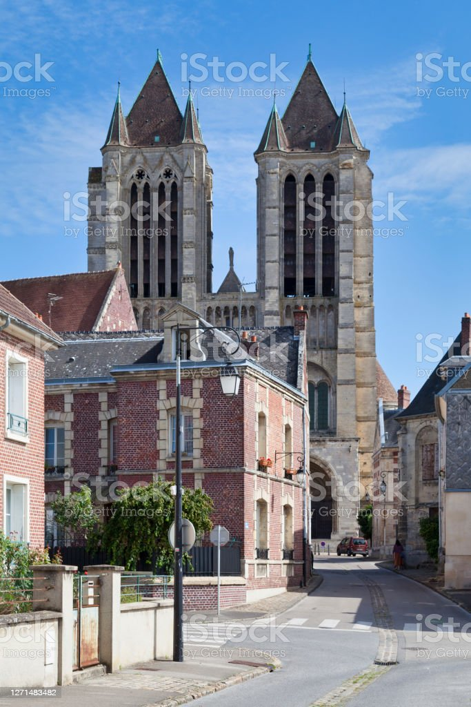 Cathedral Notre-Dame of Noyon The Cathedral Notre-Dame of Noyon is a Catholic church located in the center of the town of Noyon, in the Oise department in the Hauts-de-France region. Ancient Stock Photo