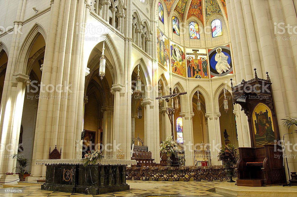 Cathedral of Almudena, Madrid. Altar royalty-free stock photo