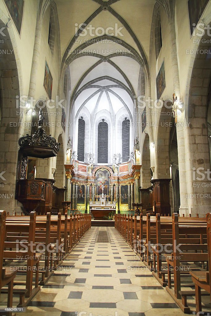 Cathedral of Annecy indoors stock photo