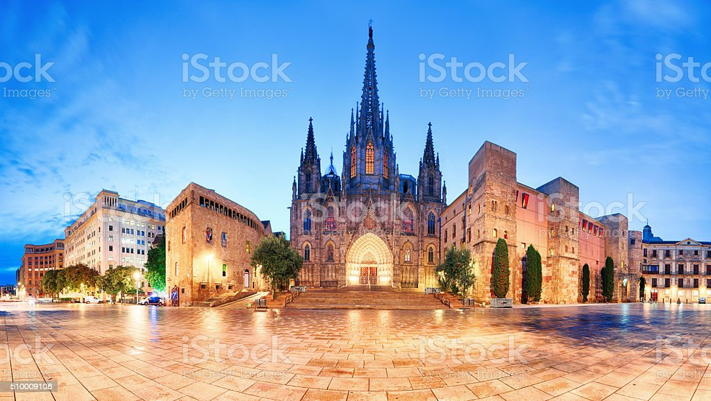 Cathedral of Barcelona, Gothic city at night, panorama. stock photo