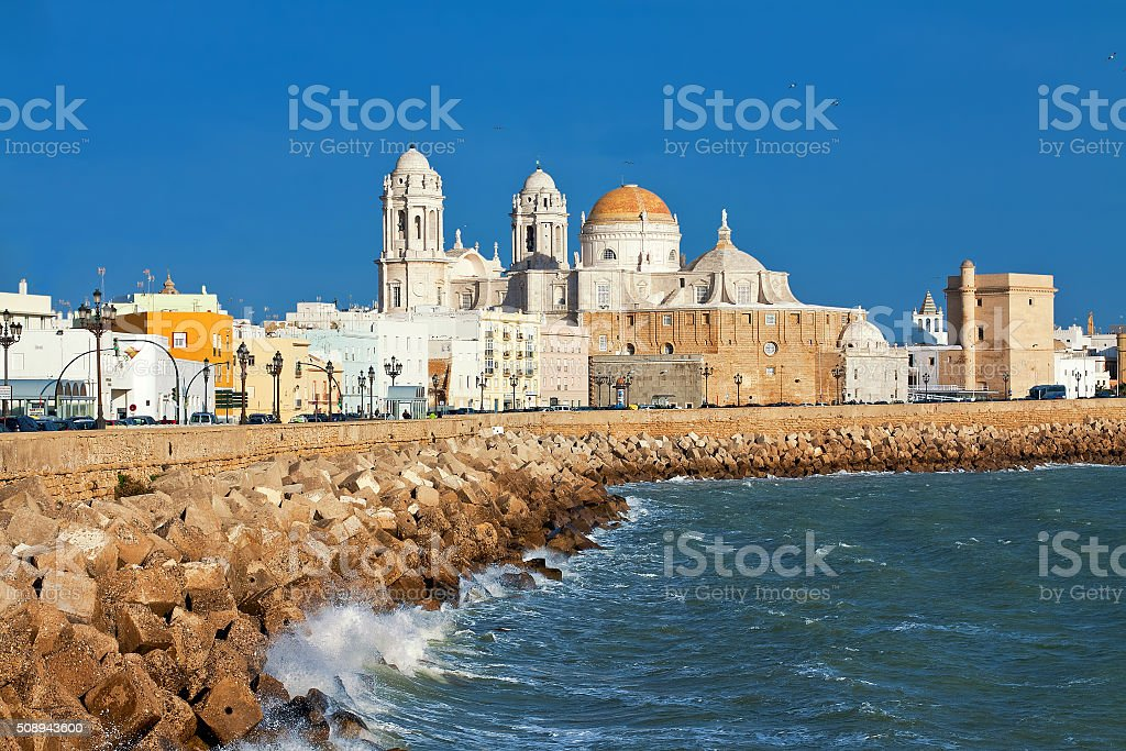 Cathedral of Cadiz. Quay. Andalusia, Spain stock photo