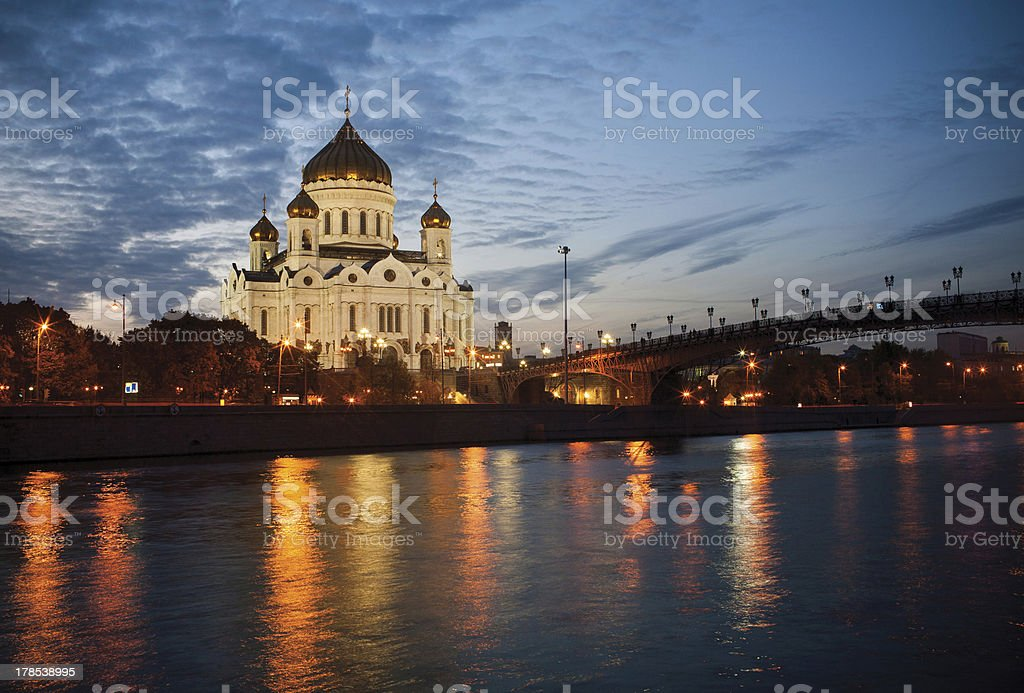 Cathedral of Christ the Savior at night stock photo
