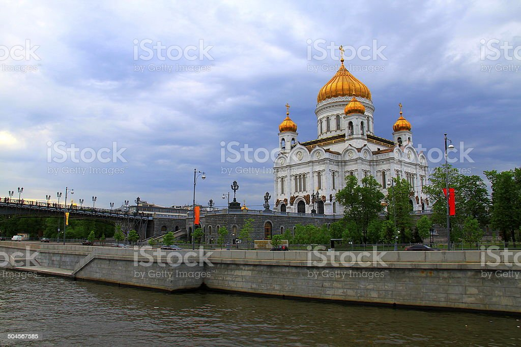 Cathedral of Christ the Savior from river cruise, Moscow stock photo