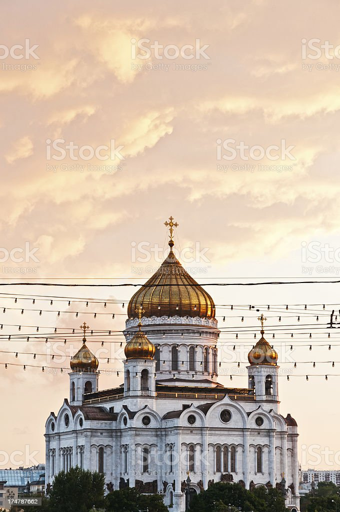 Cathedral of Christ the Saviour at sunset Moscow landmarks stock photo