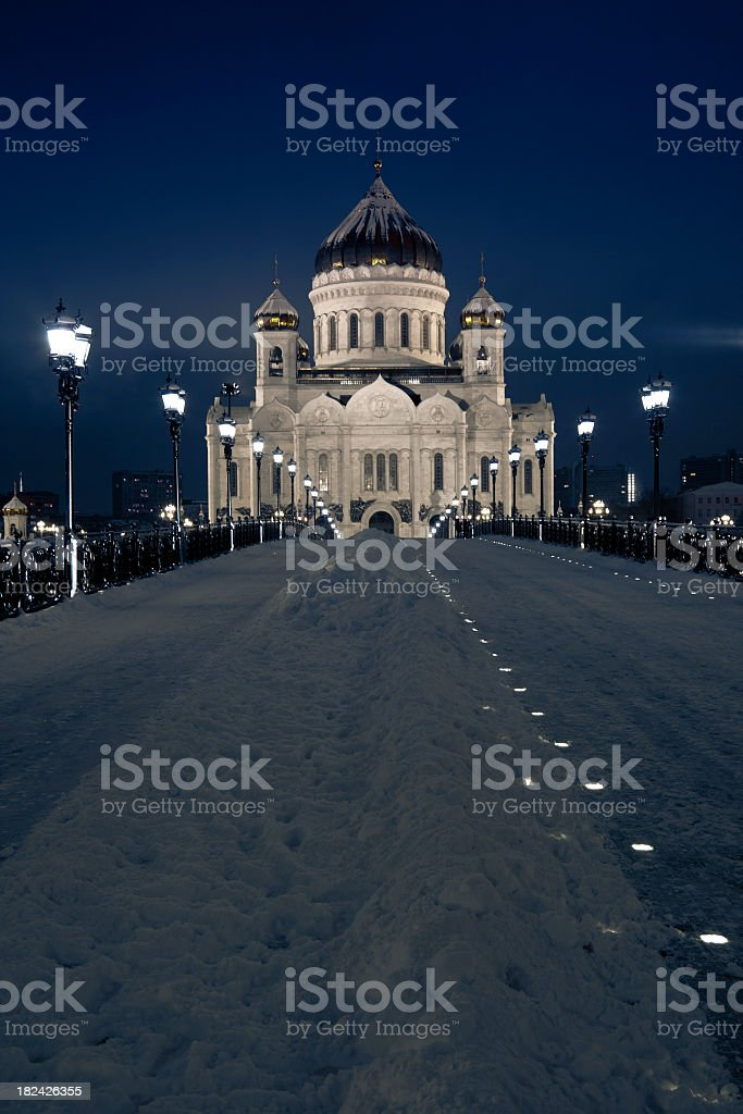 Cathedral of Christ the Saviour church in winter. Moscow, Russia royalty-free stock photo