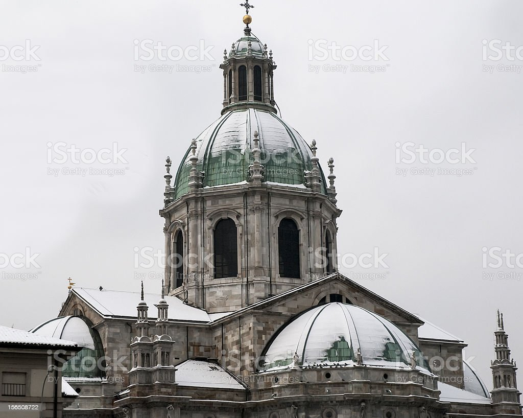 Cathedral of Como with snow royalty-free stock photo