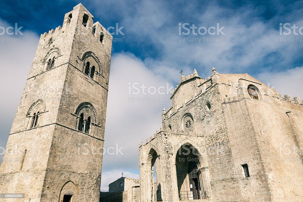 Cathedral of Erice, Santa Maria Assunta. Sicily, Italy stock photo