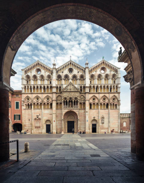 Cathedral of Ferrara stock photo