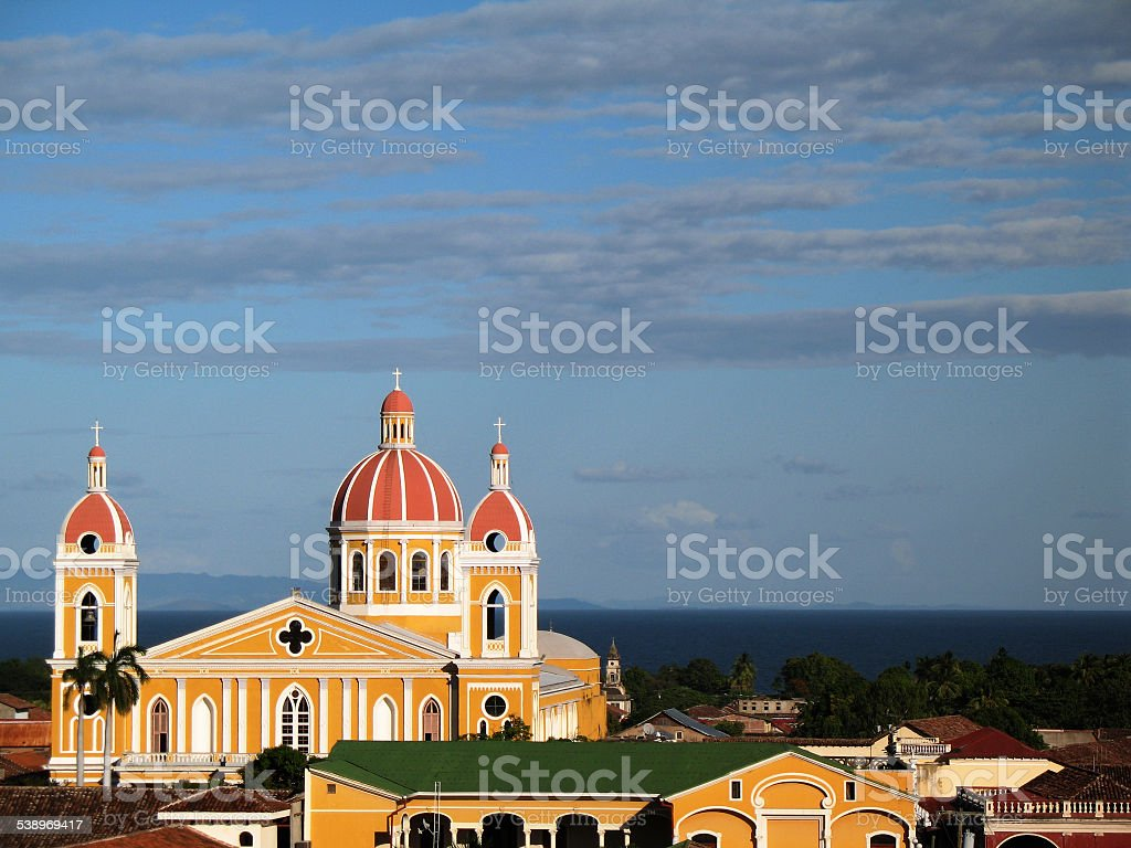 Cathedral of Granada Nicaragua stock photo