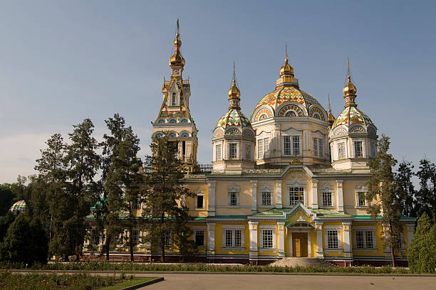 Cathedral of holy ascension, Almaty stock photo