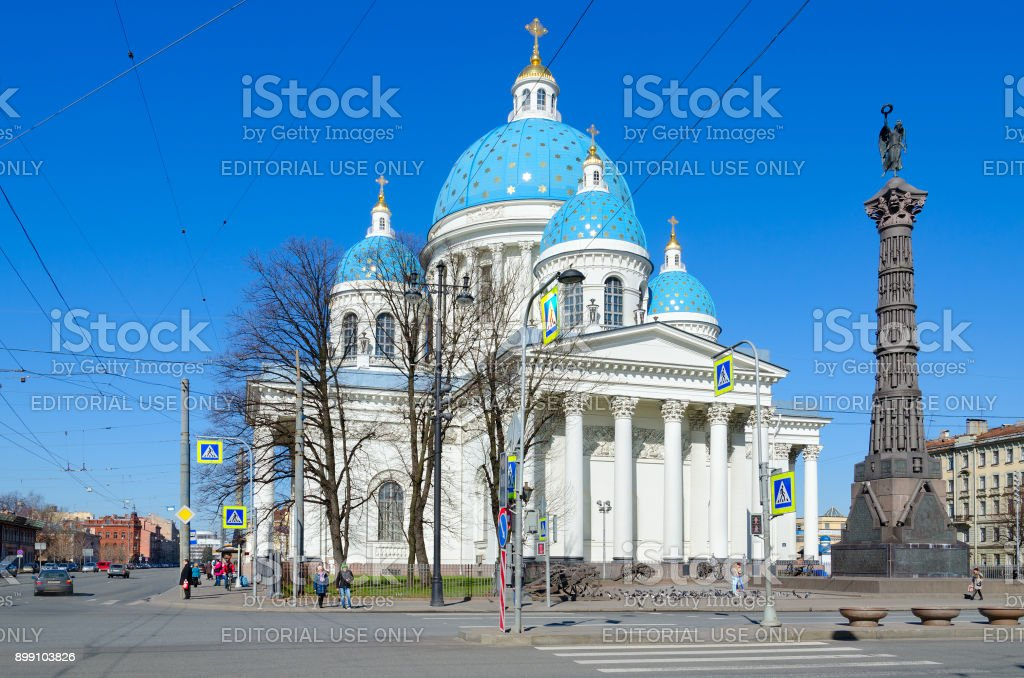 Cathedral of Holy Life-Giving Trinity of Life Guards Izmailovsky Regiment (Troitse-Izmailovsky Cathedral) and Column of Glory, Saint Petersburg, Russia stock photo