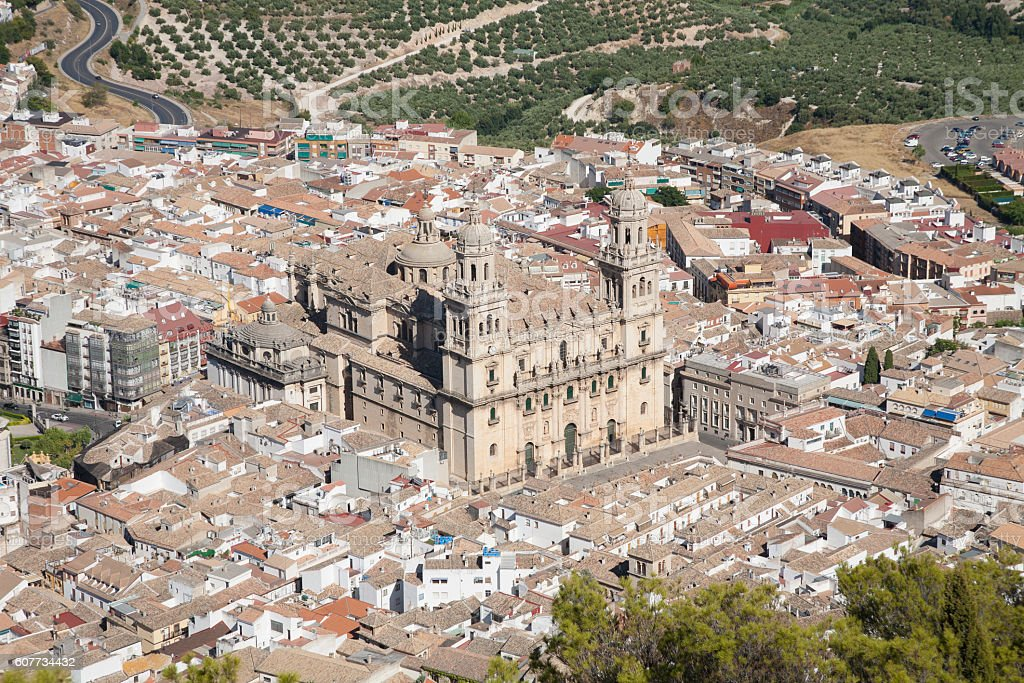 Cathedral of Jaen city stock photo