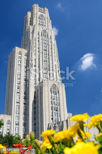 Cathedral of Learning at the University of Pittsburgh, in the Oakland neighborhood of Pittsburgh, Pennsylvania.