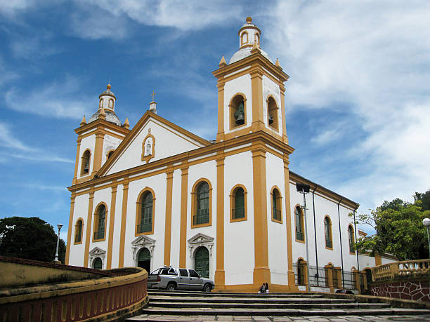 Cathedral of Manaus in Osvaldo Cruz Square Located in Osvaldo Cruz Square, the Cathedral of Manaus was built in the 19th century and is of classical Roman-style architecture. manaus stock pictures, royalty-free photos & images