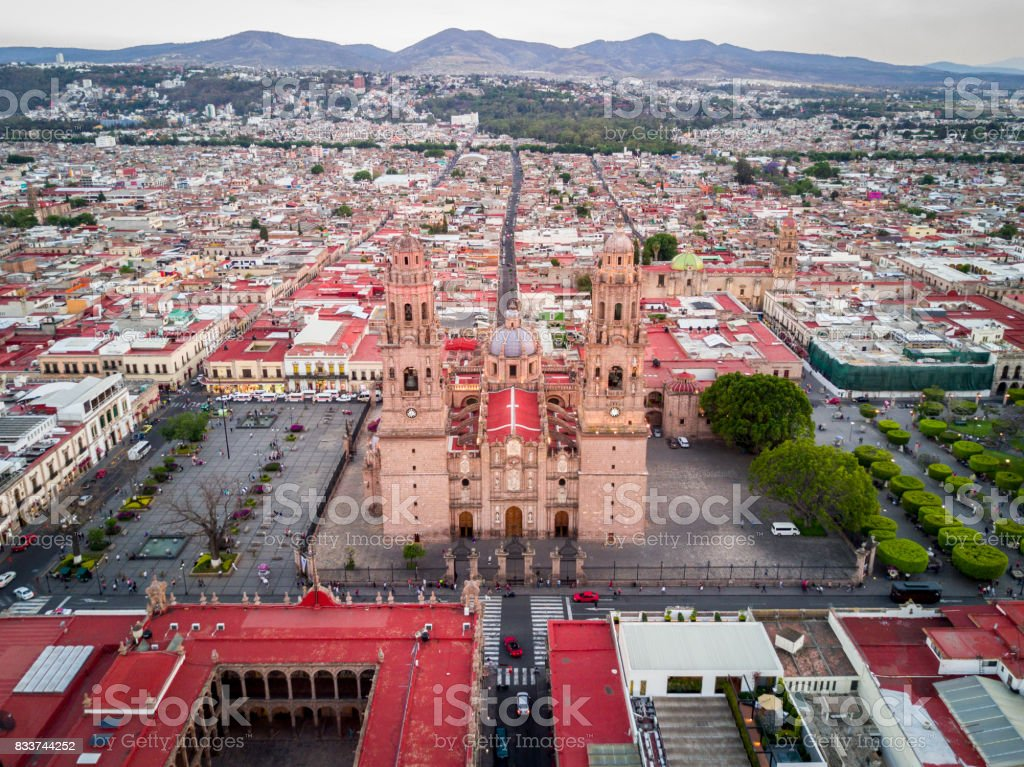 Cathedral of Morelia aerial stock photo