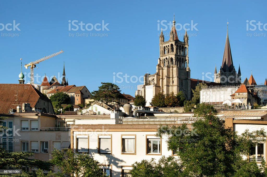 Cathedral of Notre Dame in Lausanne Switzerland stock photo