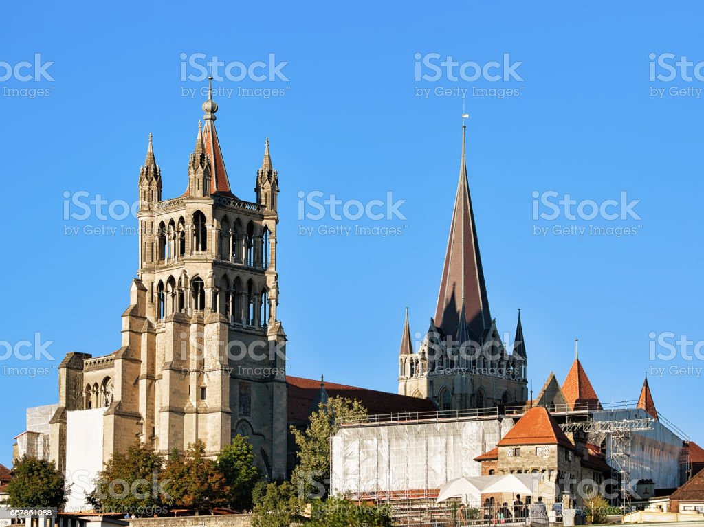 Cathedral of Notre Dame Lausanne stock photo